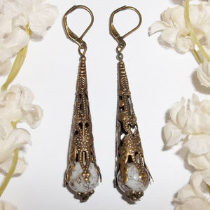 Very Long Bronze White & Brown Earrings NWT 4867